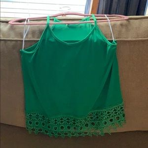 Green tank with lace bottom